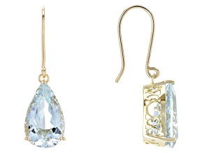 Blue Nigerian Aquamarine 14k Yellow Gold Earrings 9.80ctw