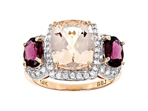 Pink Morganite 14k Rose Gold Ring 5.06ctw