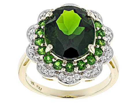 Green Chrome Diopside 14k Yellow Gold Ring 4.81ctw