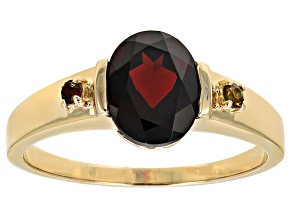 Red Garnet 14k Yellow Gold Gents Ring 2.41ctw