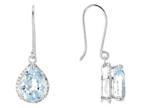 Blue Aquamarine 14k White Gold Earrings 8.13ctw