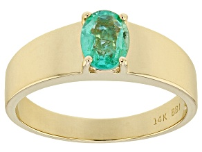 Green Ethiopian Emerald 14k Yellow Gold Ring .98ct