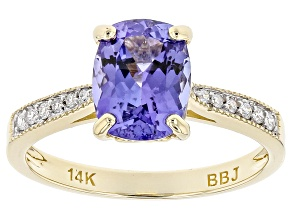 Blue Tanzanite 14k Yellow Gold Ring 2.06ctw