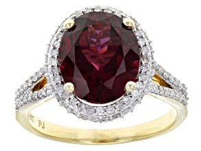 Grape Color Garnet 14k Yellow Gold Ring 4.14ctw