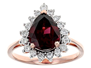 Grape Color Garnet 14k Rose Gold Ring 2.14ctw