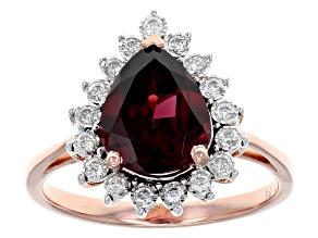 Grape Color Garnet 14k Rose Gold Ring 2.14ctw
