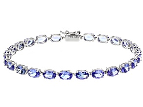 Blue Tanzanite Rhodium Over 14k White Gold Bracelet 9.18ctw