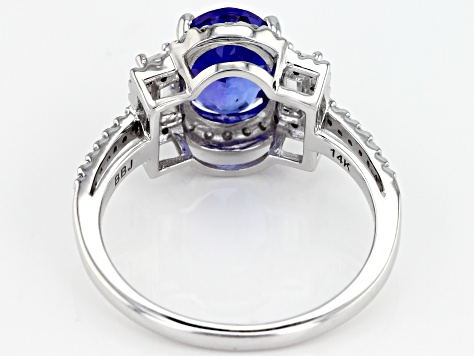 Blue Tanzanite Rhodium Over 14k White Gold Ring 1.94ctw