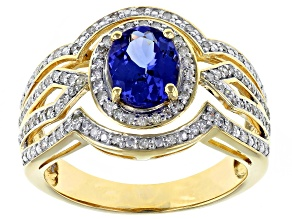 Blue Tanzanite 14k Yellow Gold Ring 1.38ctw