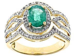 Green Emerald 14k Yellow Gold Ring 1.24ctw