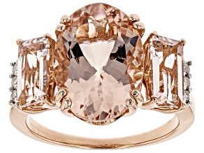 Pink Morganite 14k Rose Gold Ring 5.80ctw