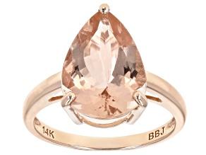 Peach Cor-De-Rosa Morganite™ 14k Rose Gold Ring 3.84ctw
