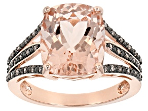 Pink Morganite 14k Rose Gold Ring 4.36ctw