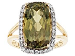 Green Color Shift Turkish Diaspore 14k Yellow Gold Ring 8.51ctw