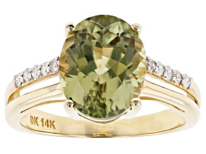 Green Color Shift Turkish Diaspore 14k Yellow Gold Ring 3.66ctw