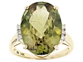 Green Turkish Diaspore 14k Yellow Gold Ring 10.74ctw