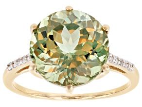 Green Turkish Diaspore 14k Yellow Gold Ring 6.40cw