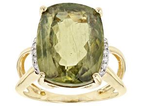 Green Turkish Diaspore 14k Yellow Gold Ring 9.32ctw