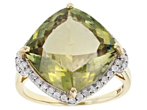 Green Turkish Diaspore 14k Yellow Gold Ring 10.30ctw