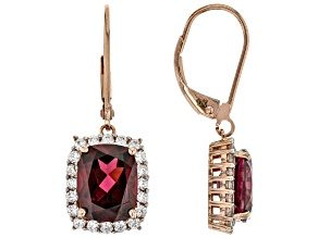 Grape Color Garnet 14k Rose Gold Earrings 6.17ctw
