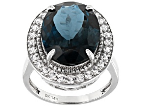London Blue Topaz Rhodium Over 14k White Gold Ring 11.29ctw