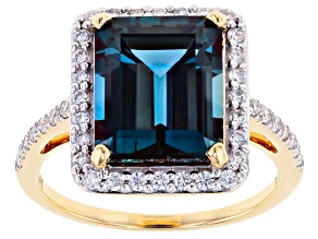 Blue Lab Created Alexandrite 14k Yellow Gold Ring 5.57ctw