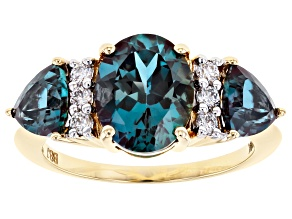 Blue Lab Created Alexandrite 14k Yellow Gold Ring 4.31ctw