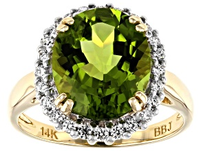 Green Peridot 14k Yellow Gold Ring 4.56ctw