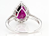 Grape Color Garnet Rhodium Over 14k White Gold Ring 3.16ctw