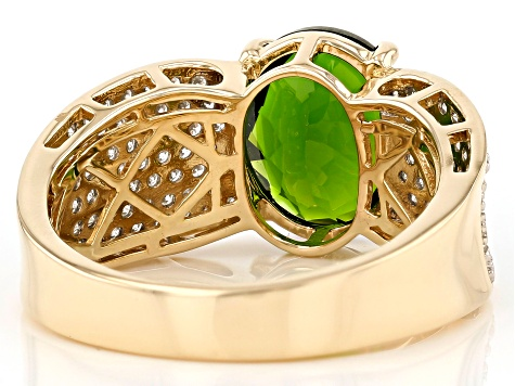 Green Chrome Diopside 14k Yellow Gold Ring 2.66ctw