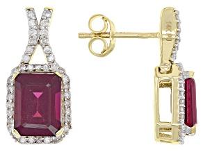 Grape Color Garnet 14k Yellow Gold Earrings 3.43ctw