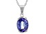 Blue Tanzanite Rhodium Over 14k White Gold Pendant With Chain 2.80ct