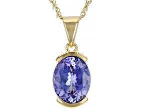 Blue Tanzanite 14k Yellow Gold Pendant With Chain 2.80ct