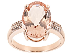 Pink Morganite 14k Rose Gold Ring 4.65ctw