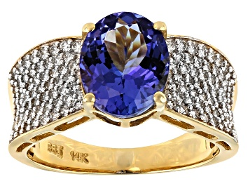 Picture of Blue Oval Tanzanite 14k Yellow Gold Ring 3.70ctw
