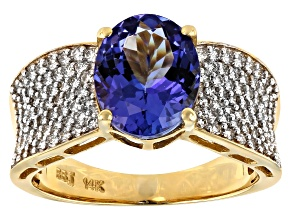 3.10ct Oval Tanzanite With .60ctw Round White Diamond 14k Yellow Gold Ring