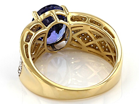 Blue Oval Tanzanite 14k Yellow Gold Ring 3.70ctw