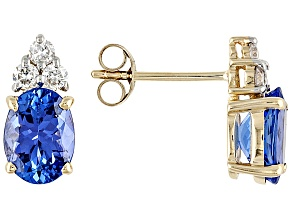 TANZANITE 2.54CTW WITH WHITE DIAMOND .22CTW 14K YELLOW GOLD EARRINGS WEB ONLY