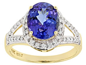 Tanzanite With Round White Diamond 14k Yellow Gold Ring 3.31ctw
