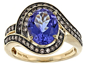 Blue Tanzanite 14k Yellow Gold Ring 3.25ctw