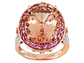Pink Morganite 10k Rose Gold Ring 7.40ctw