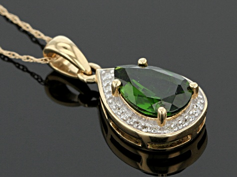 Green Chrome Diopside 14k Gold Pendant With Chain 1.95ctw.