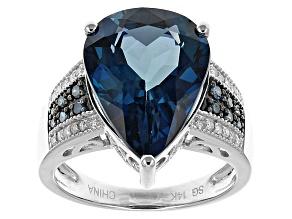 London Blue Topaz 14k White Gold Ring 7.85ctw.
