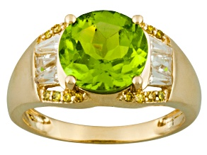 Green peridot 14k yellow gold ring 3.39ctw.