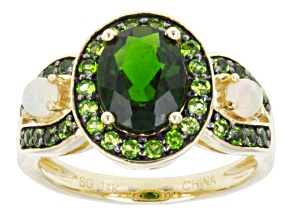 Green Russian Chrome Diopside 14k Yellow Gold Ring 2.24ctw.