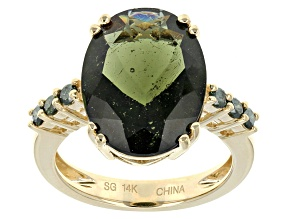 Green Moldavite 14k Yellow Gold Ring 6.21ctw.