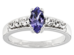 Blue Tanzanite Rhodium Over Sterling Silver Ring 0.77ctw