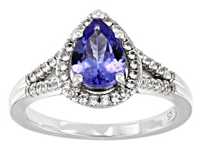 Blue Tanzanite Rhodium Over Sterling Silver Ring 1.17ctw