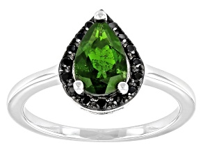 Green Chrome Diopside Rhodium Over Sterling Silver Ring 1.35ctw
