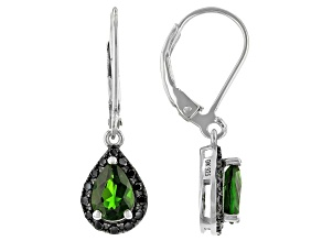 Green Chrome Diopside Rhodium Over Sterling Silver Dangle Earrings 1.67ctw